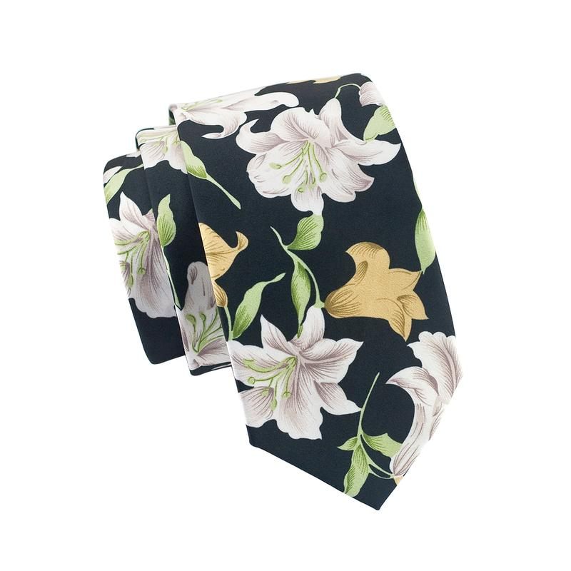 Black White Floral Mens Tie Pocket Square Cufflinks Set