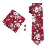 Wine Red Floral Men's Tie Pocket Square Cufflinks Set