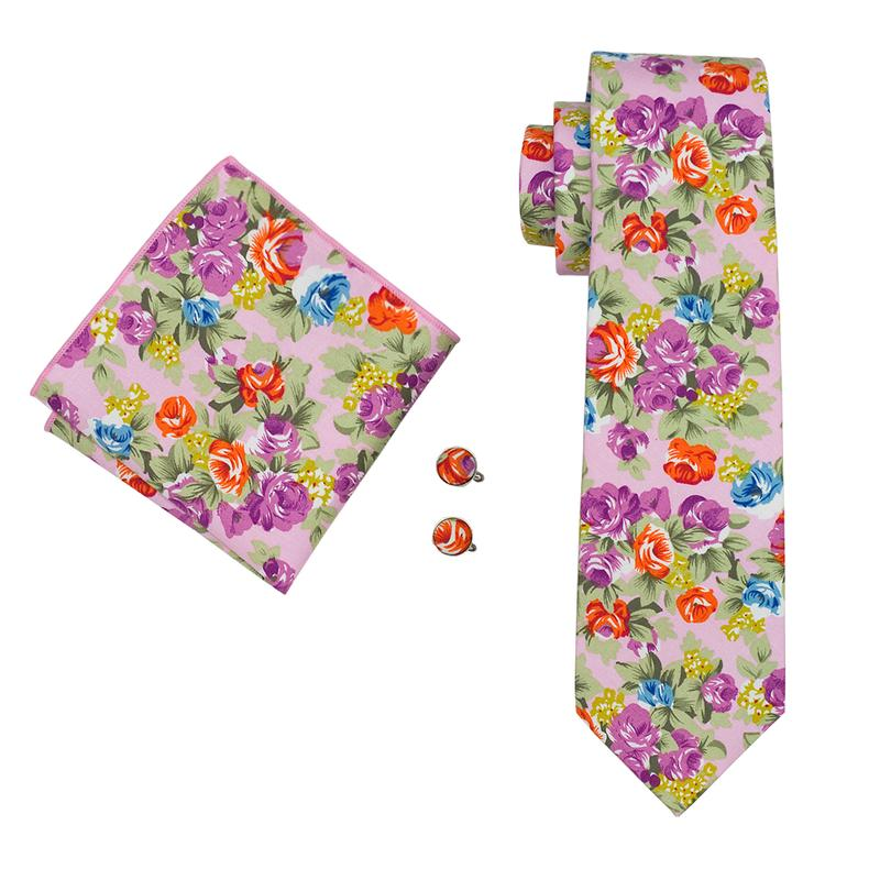 Pink Purple Floral Mens Tie Pocket Square Cufflinks Set (1911131963434)