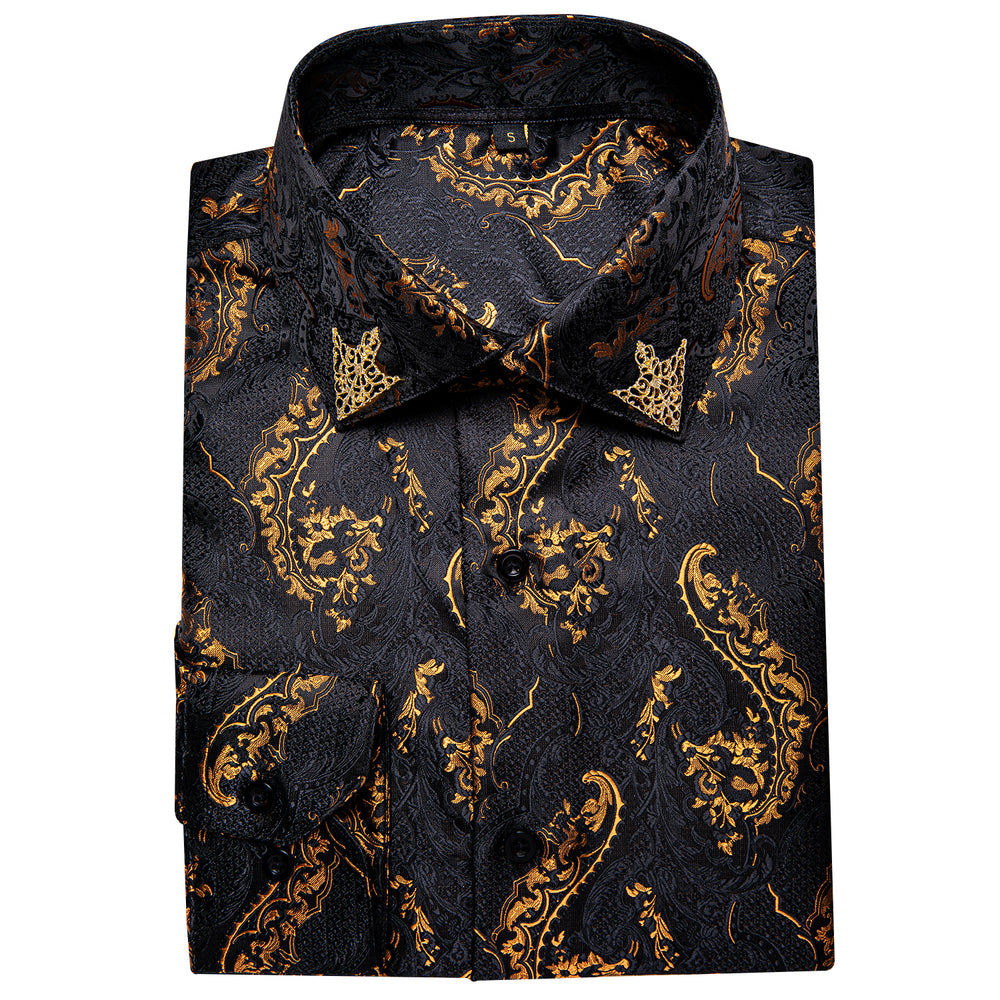Load image into Gallery viewer, Black Golden Paisley Men's Shirt with Collar pin