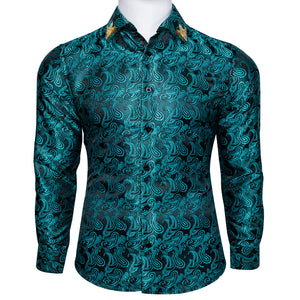 Green Paisley Men's Shirt with Collar pin