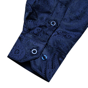 Blue Paisley Men's Shirt with Collar pin
