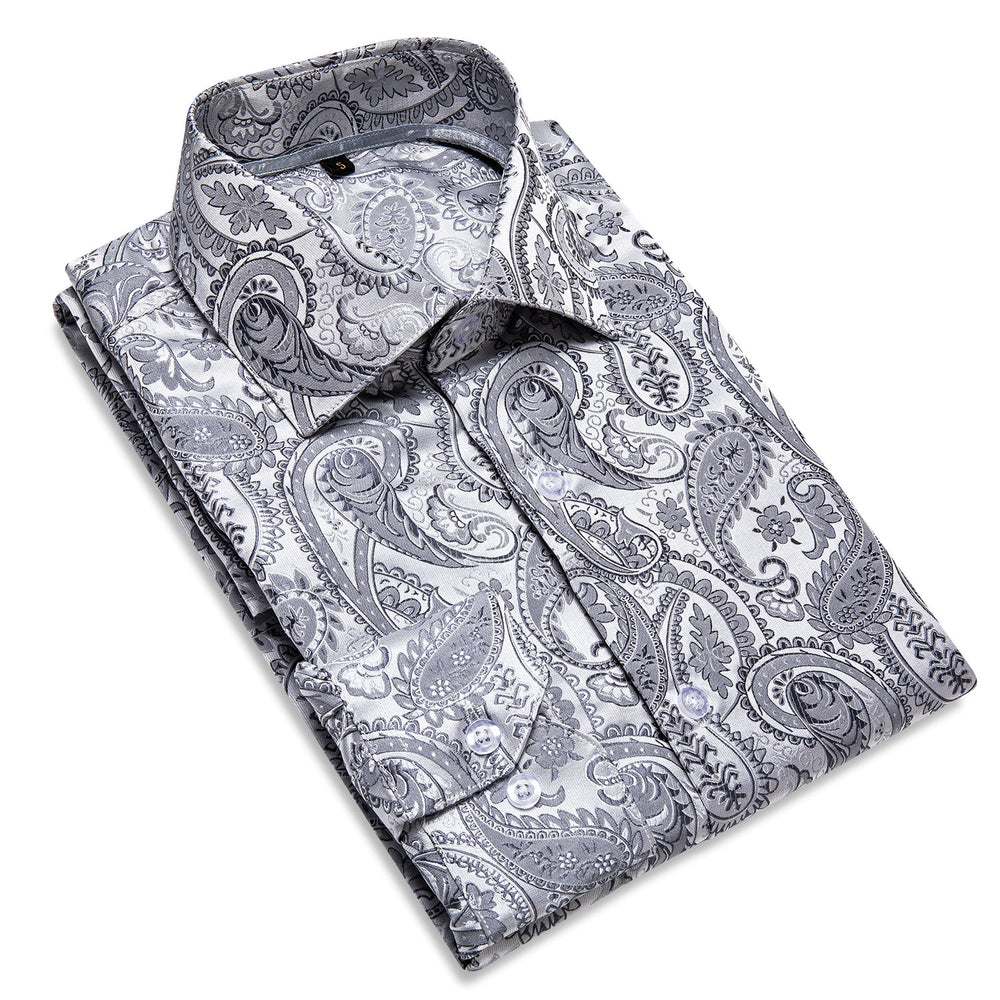 Load image into Gallery viewer, Grey Paisley Men's Shirt