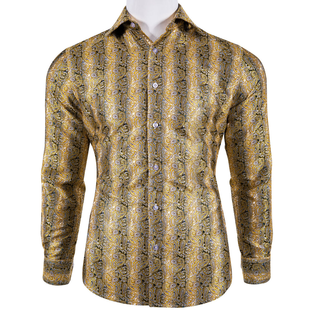 Load image into Gallery viewer, Brown Floral Men's Shirt with Collar pin