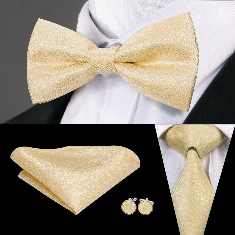 Gold Solid Bowtie Necktie Hanky Cufflinks Set