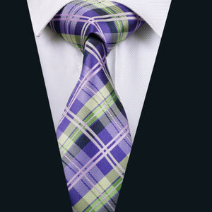 Load image into Gallery viewer, Purple Green Plaid Single Tie