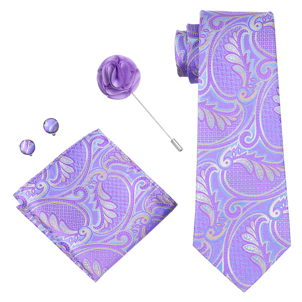 Purple Paisley Tie Pocket Square Cufflinks  Brooch Set