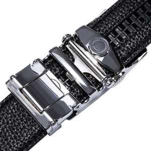 New Blue Metal Automatic Buckle Black Leather Belt