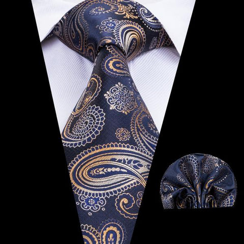 2PCS Luxury Limitted Brown Paisley Tie Hanky Set
