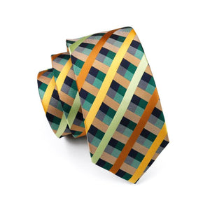 Load image into Gallery viewer, Green Yellow Plaid Men's Tie Pocket Square Cufflinks Set