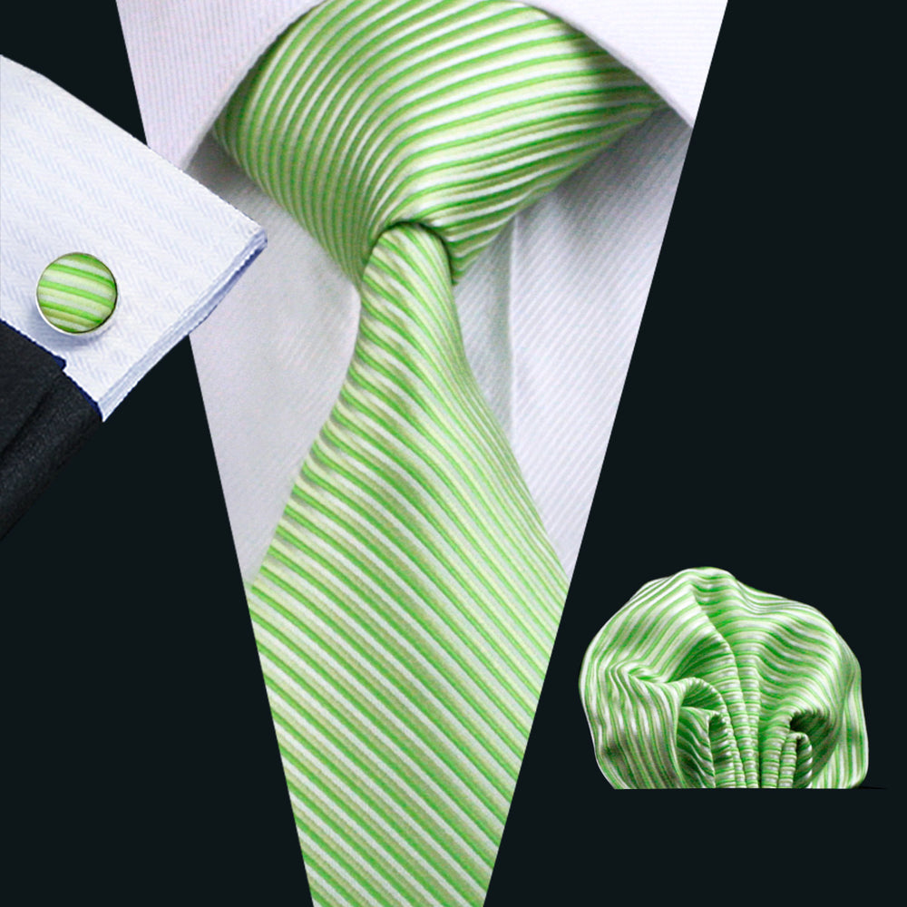 Yellowgreen Striped Necktie Pocket Square Cufflinks Set