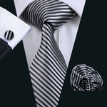 Black Grey Striped Tie Pocket Square Cufflinks Set