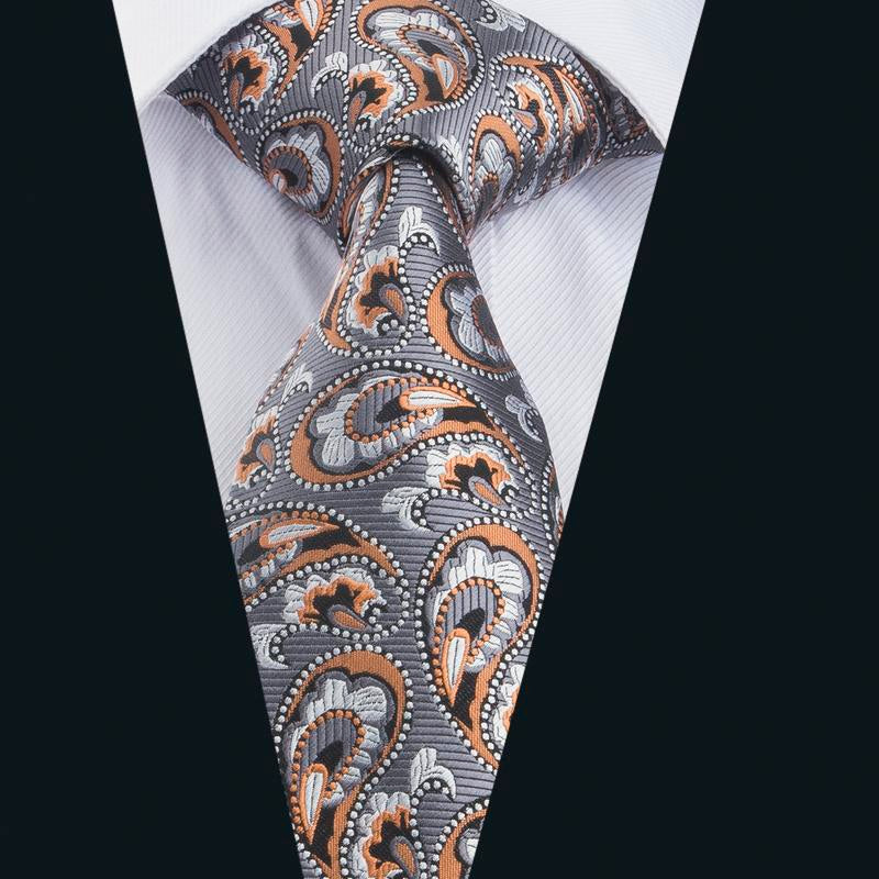 Orange Grey Paisley Men's Tie Pocket Square Cufflinks Set