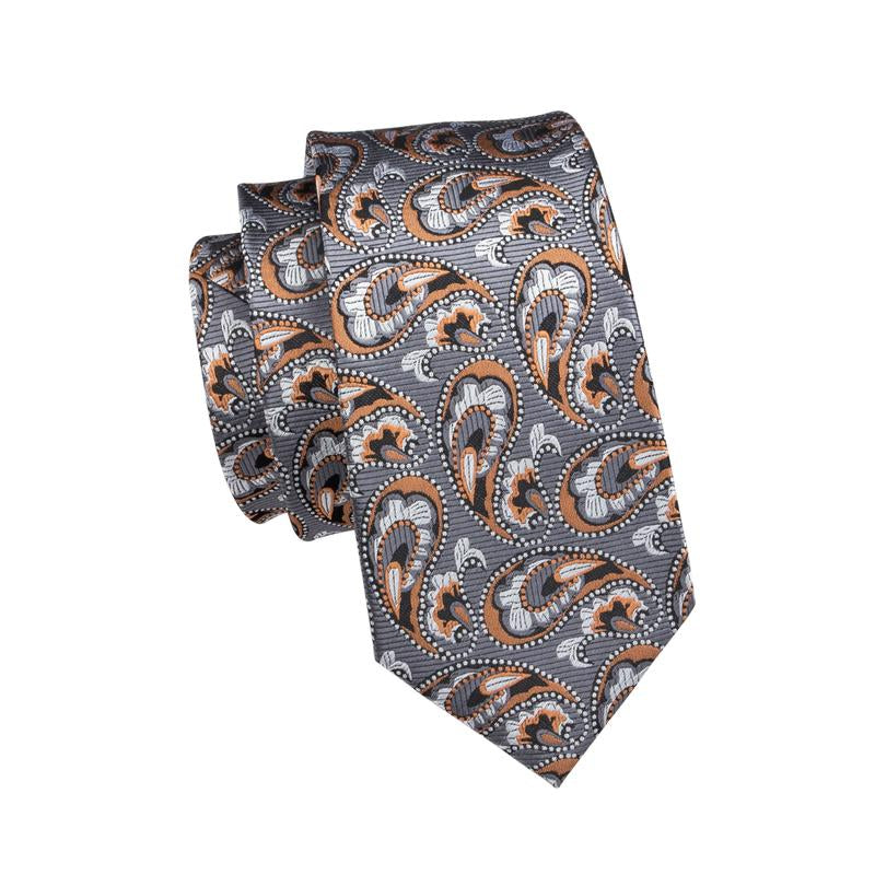 Load image into Gallery viewer, Orange Grey Paisley Men's Tie Pocket Square Cufflinks Set