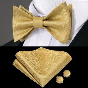Load image into Gallery viewer, Gold Yellow Bowtie Pocket Square Cufflinks Set (4333427621969)
