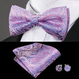 Purple Pink Paisley Bowtie Pocket Square Cufflinks Set