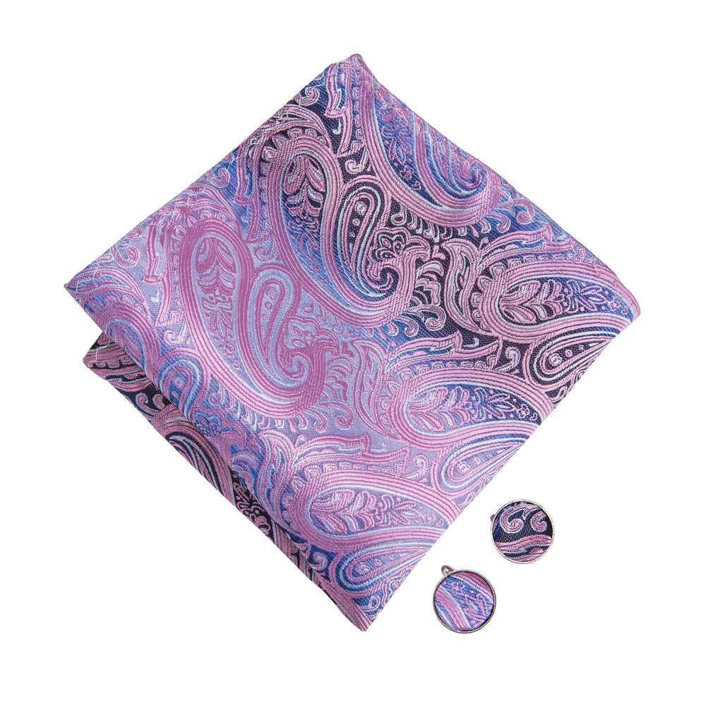 Load image into Gallery viewer, Purple Pink Paisley Bowtie Pocket Square Cufflinks Set