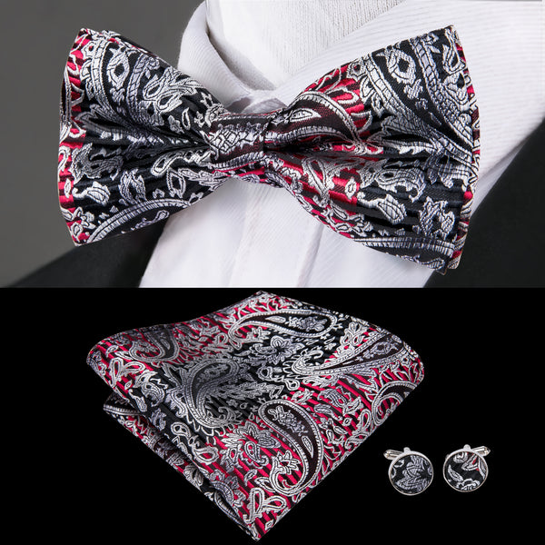 Black Red Paisley Bowtie Pocket Square Cufflinks Set