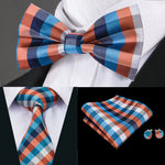 Blue Orange Plaid Bowtie Necktie Hanky Cufflinks Set