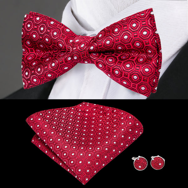Red White Polka Dot Bowtie Pocket Square Cufflinks Set