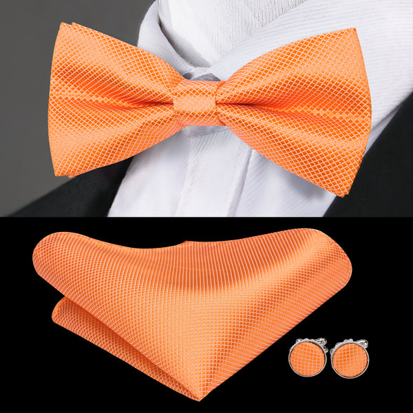 Orange Solid Bowtie Pocket Square Cufflinks Set