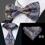 Pink Plaid Bowtie Necktie Hanky Cufflinks Set