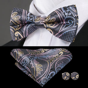 Black Yellow Floral Bowtie Pocket Square Cufflinks Set