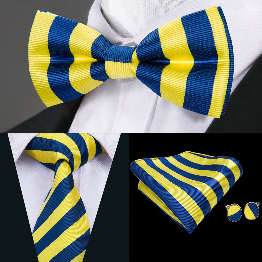 Load image into Gallery viewer, Yellow Blue Striped Bowtie Necktie Hanky Cufflinks Set