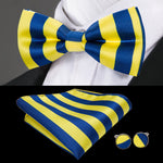 Blue Yellow Striped Bowtie Pocket Square Cufflinks Set