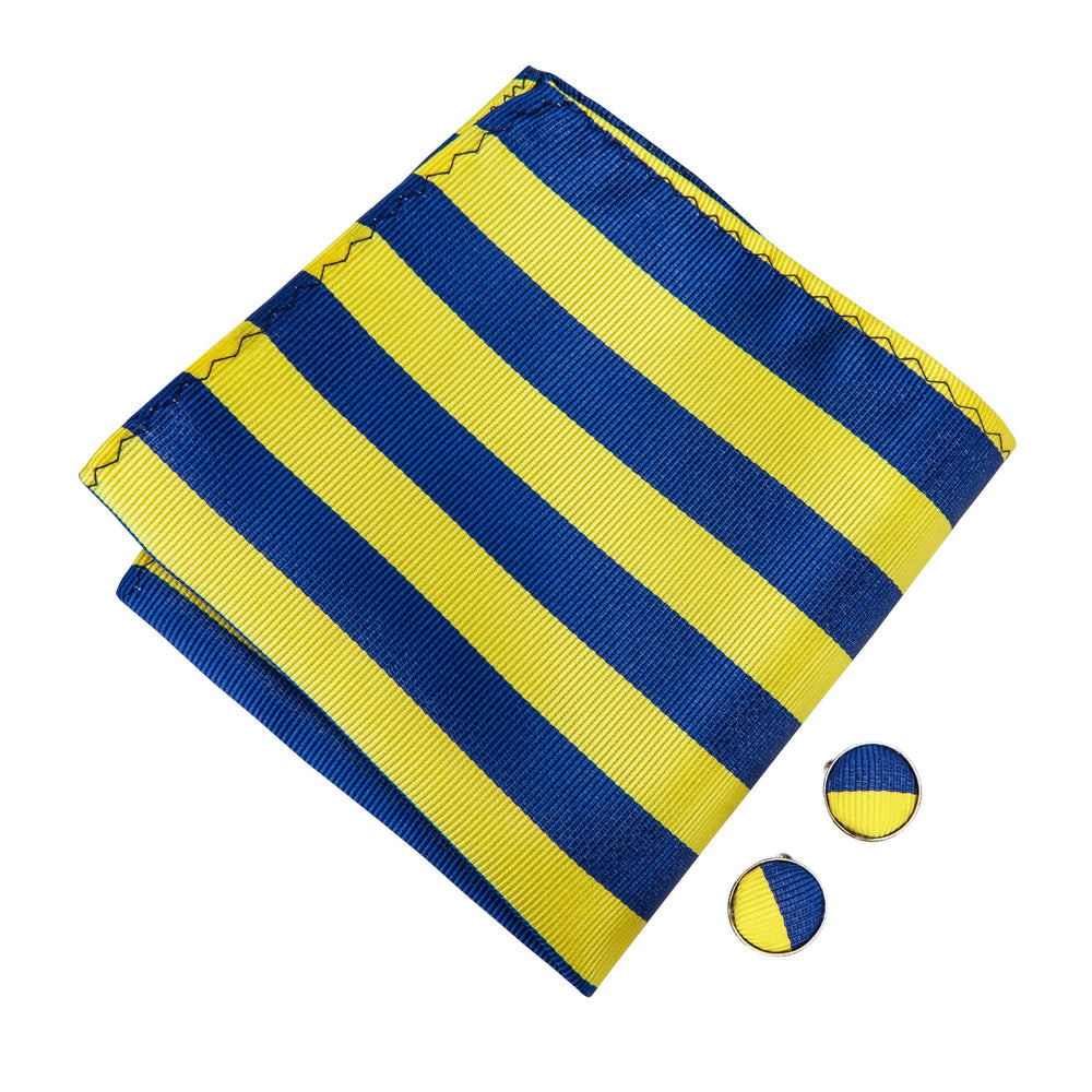 Yellow Blue Striped Bowtie Necktie Hanky Cufflinks Set