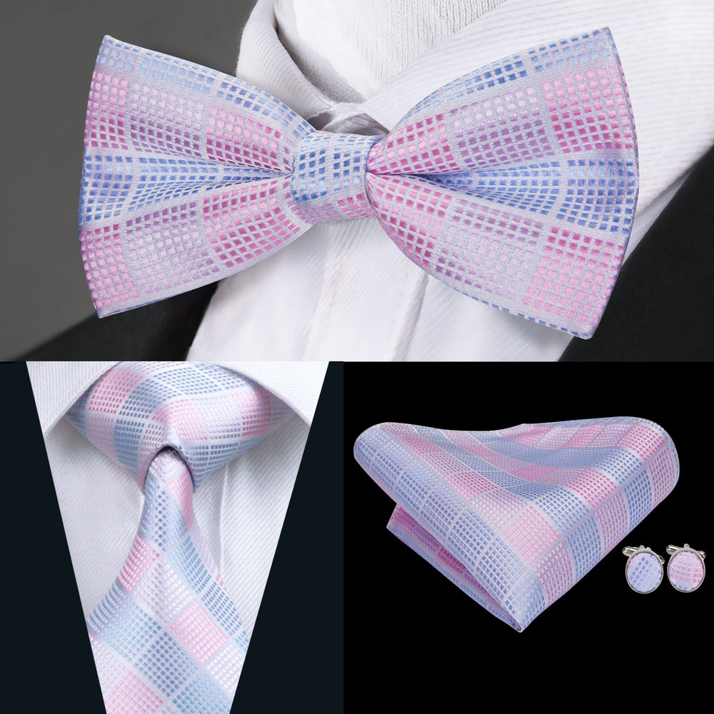 Blue Pink Plaid Bowtie Necktie Hanky Cufflinks Set