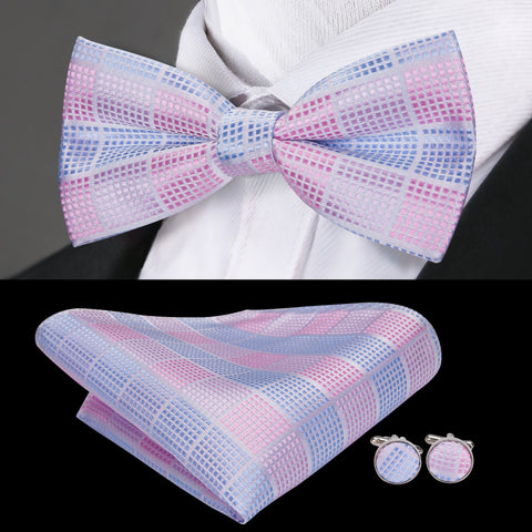 Pink Blue Plaid Bowtie Pocket Square Cufflinks Set
