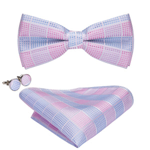 Load image into Gallery viewer, Pink Blue Plaid Bowtie Pocket Square Cufflinks Set