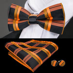 Orange Black Plaid Bowtie Pocket Square Cufflinks Set