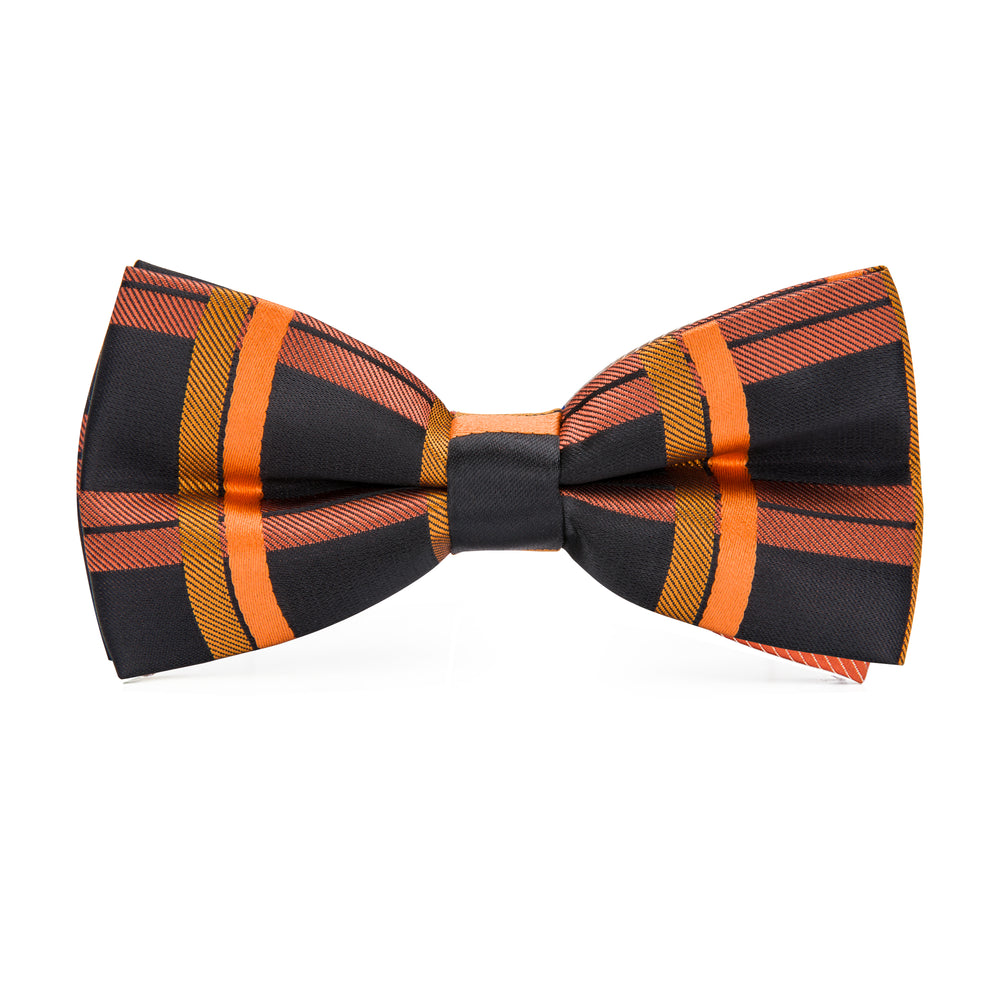 Orange Black Plaid Bowtie Pocket Square Cufflinks Set (1930191274026)