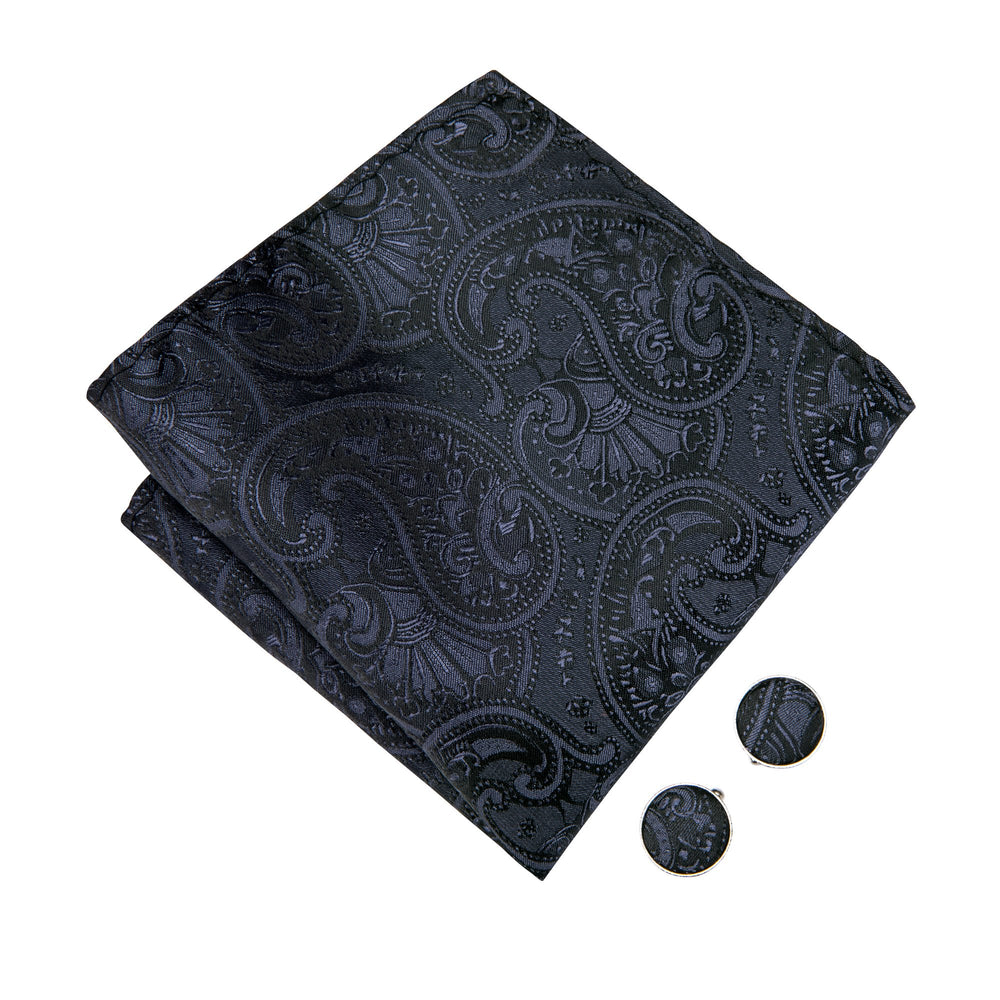 Load image into Gallery viewer, Black Paisley Bowtie Necktie Hanky Cufflinks Set