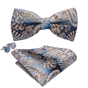Load image into Gallery viewer, Blue Brown Paisley Bowtie Pocket Square Cufflinks Set