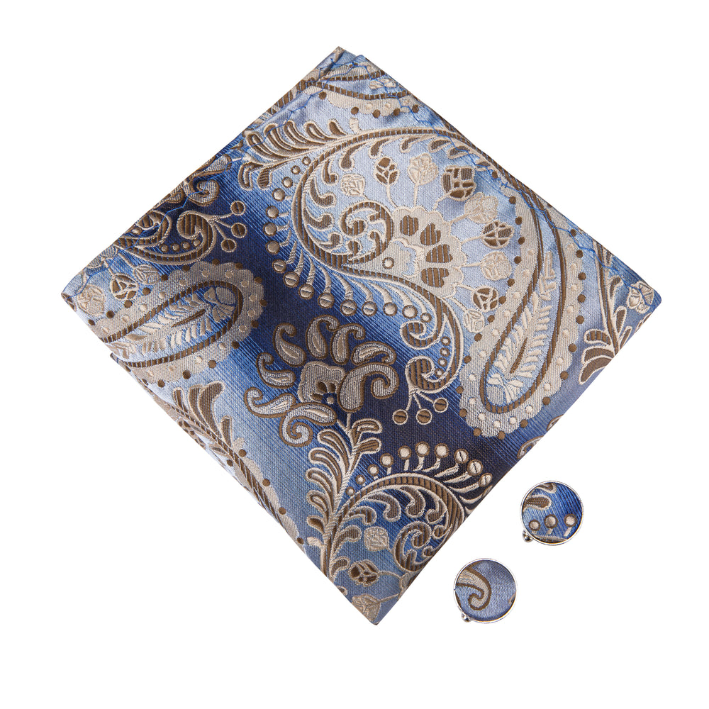 Blue Brown Paisley Bowtie Pocket Square Cufflinks Set
