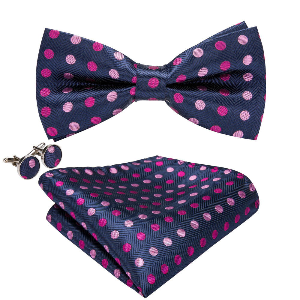 Blue Pink Polka Dot  Bowtie Pocket Square Cufflinks Set