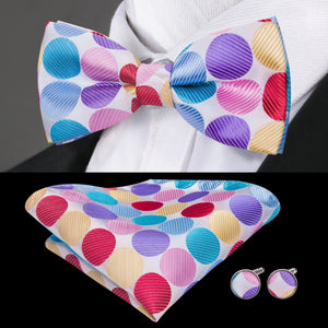 Load image into Gallery viewer, Purple Red Yellow  Polka Dot  Bowtie Pocket Square Cufflinks Set (1930197598250)