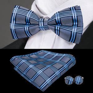 Blue Grey Plaid Bowtie Pocket Square Cufflinks Set (1930198777898)