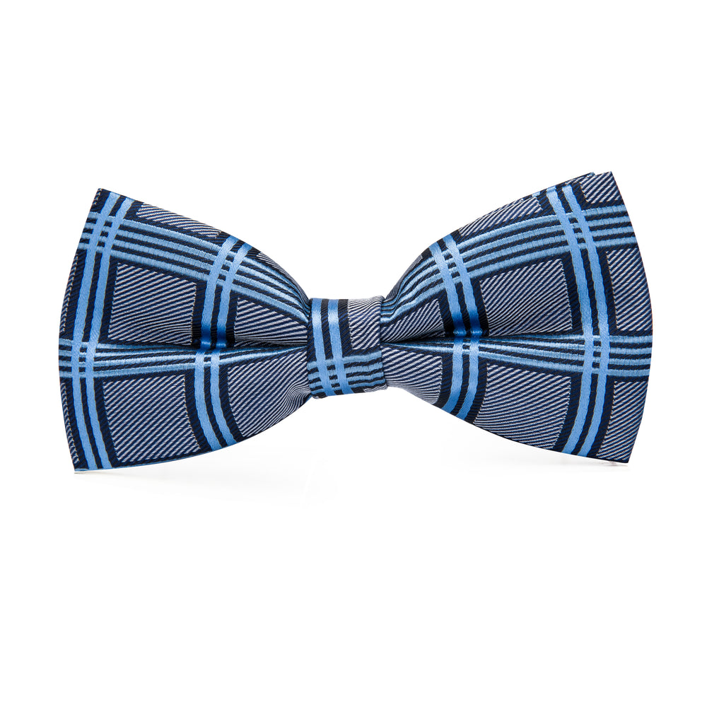 Load image into Gallery viewer, Blue Grey Plaid Bowtie Pocket Square Cufflinks Set (1930198777898)