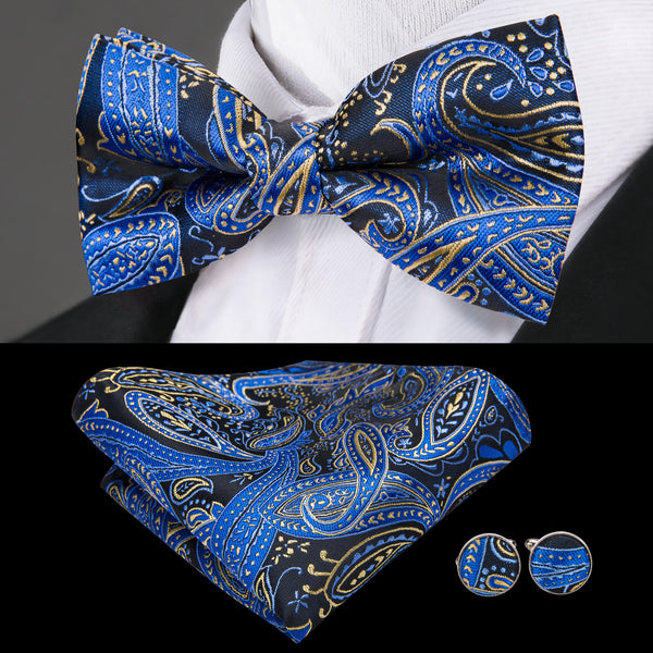 Blue Yellow Paisley Bowtie Pocket Square Cufflinks Set