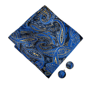 Load image into Gallery viewer, Blue Yellow Paisley Bowtie Pocket Square Cufflinks Set (1930199924778)