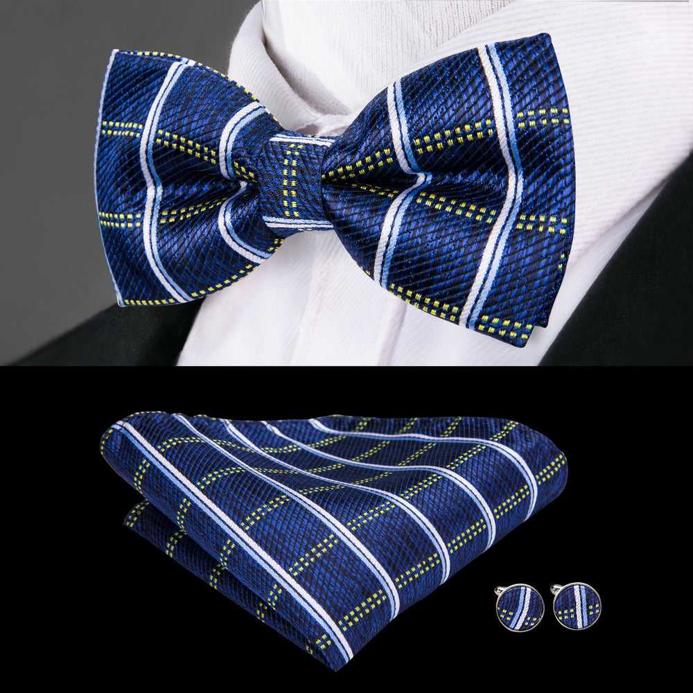 Royal Blue Plaid Bowtie Pocket Square Cufflinks Set