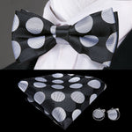 Black Silver Polka Dot  BowTie Set