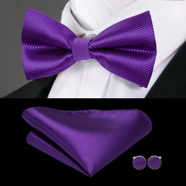 Purple Solid Bowtie Pocket Square Cufflinks Set