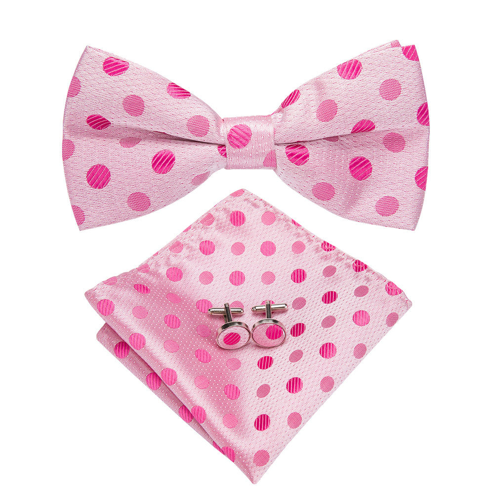 Pink Polka Dot Bowtie Pocket Square Cufflinks Set