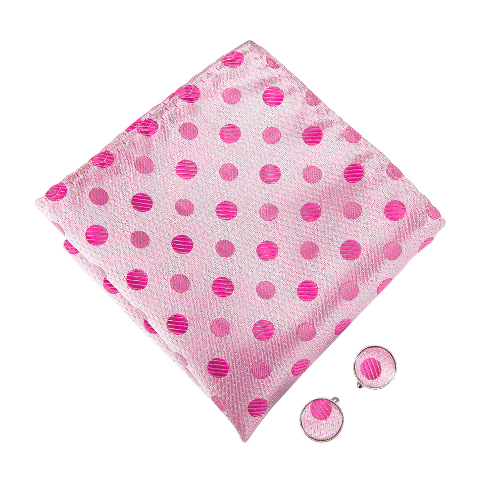 Load image into Gallery viewer, Pink Polka Dot Bowtie Pocket Square Cufflinks Set