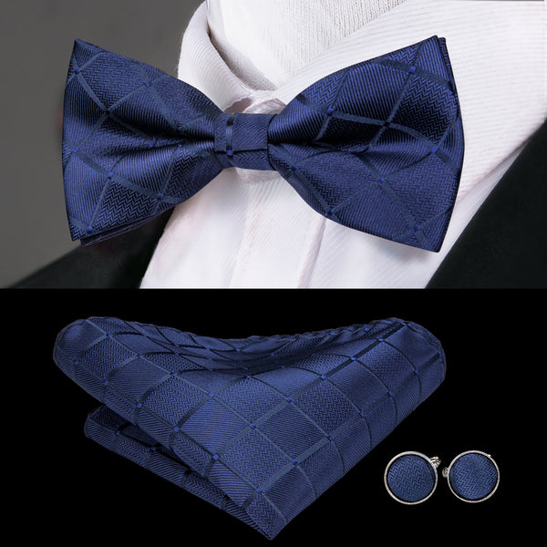 Blue Plaid Bowtie Pocket Square Cufflinks Set